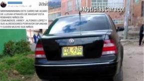 Carro que fue involucrado en falsa cadena de WhatsApp