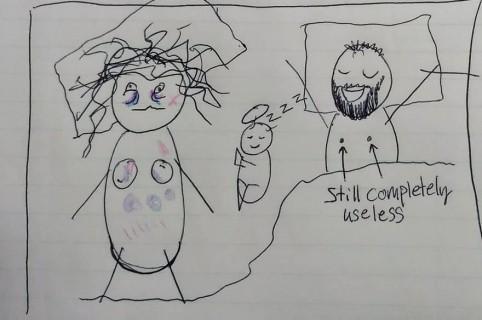 Dibujos de mujer con bebé.