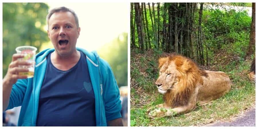 Hombre ebrio casi pierde el brazo con un león, en Honduras