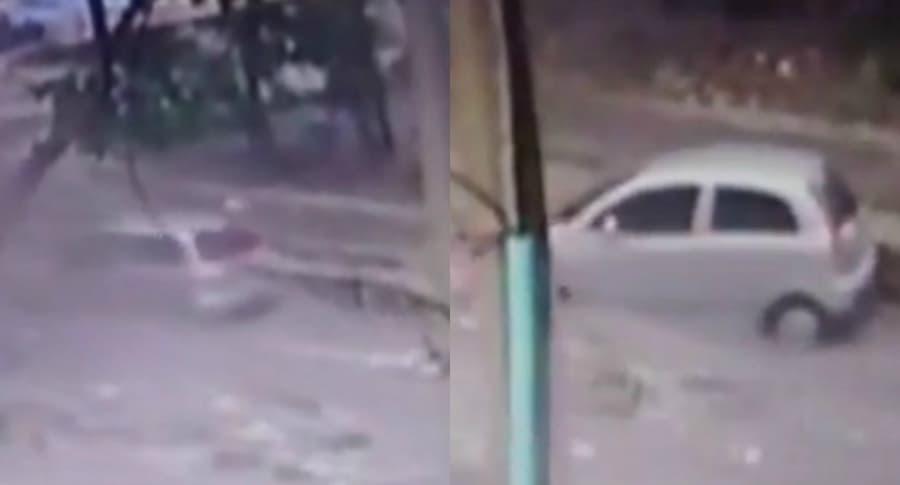 Auto donde la mujer y la niña de 5 años se transportaban