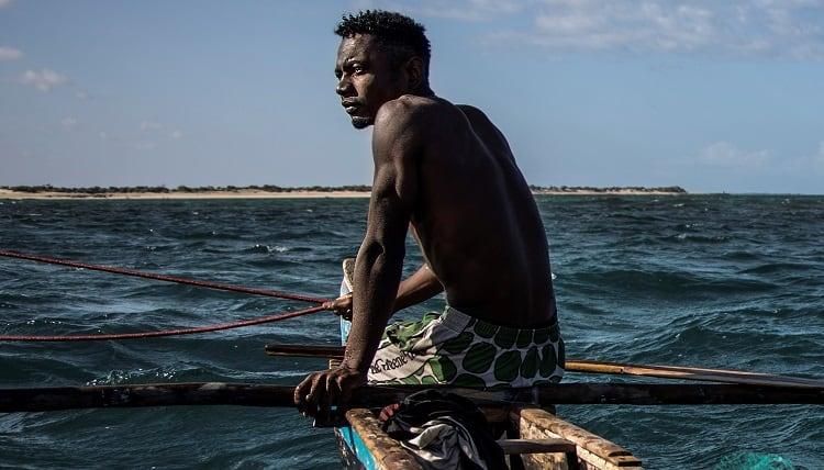 Pescador en faenas de pesca