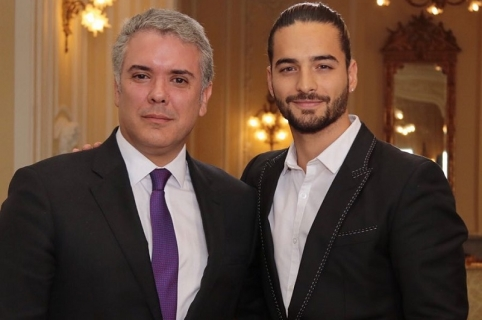 Ivan Duque, presidente de Colombia, junto a Maluma, cantante de reguetón