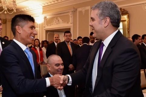 Nairo Quintana e Iván Duque