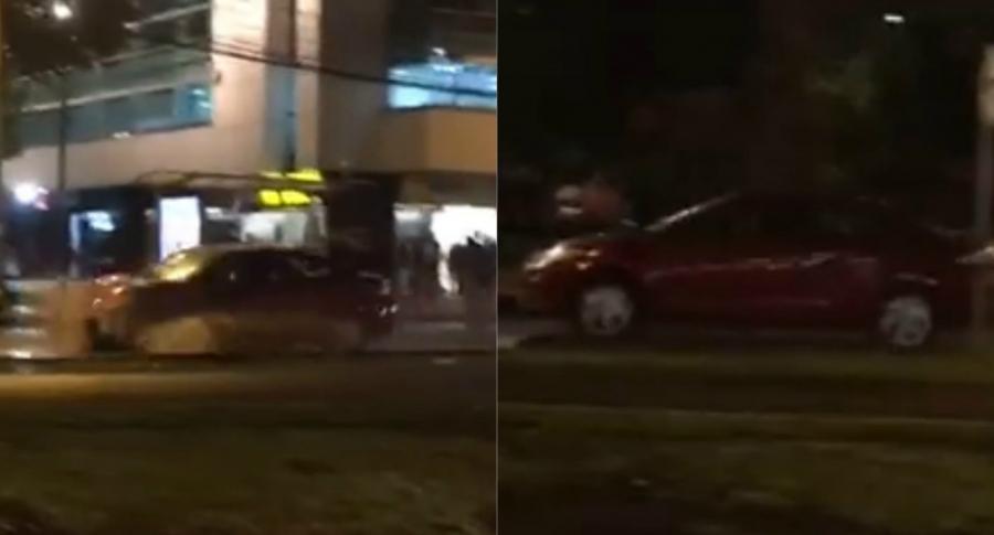 Auto que atropelló a varios manifestantes