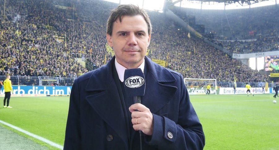 Ezequiel Daray reportando para Fox desde el estadio Signal Iduna Park