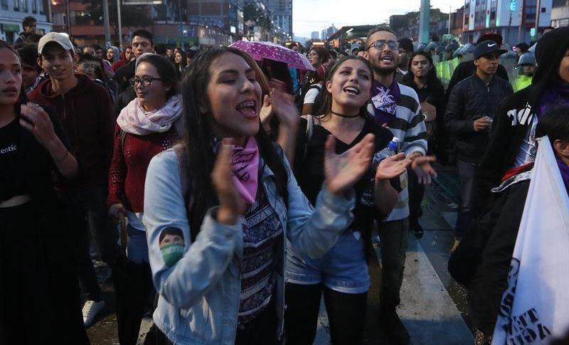 Marchas de estudiantes en Bogotá.