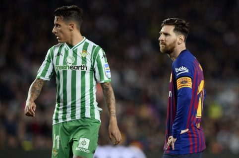 Lionel Messi y Cristian Tello