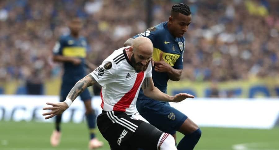 Sebastián Villa, de Boca Juniors, ante River Plate