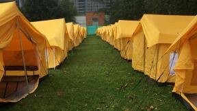 Campamento humanitario en Bogotá. para venezolanos.