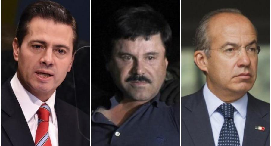 Enrique Peña Nieto, presidente de México; el narcotraficante 'Chapo' Guzmán y Felipe Calderón, expresidente de México.