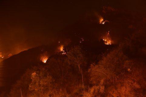 en las colinas sobre la Universidad Pepperdine durante el incendio de Woolsey, 12 de noviembre de 2018 en Malibu, California.