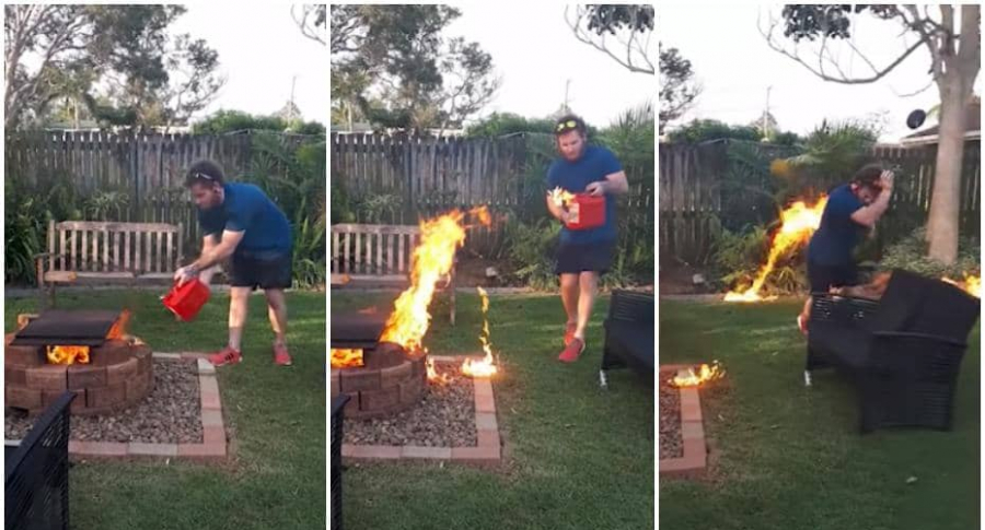 Hombre incendia patio de casa.