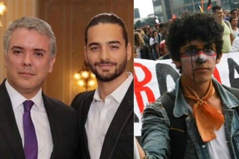 Iván Duque, Maluma y estudiante en protesta