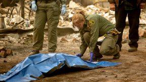 Autoridades cubren un cadáver.