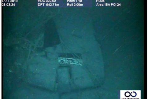 Parte de los restos del submarino ARA San Juan ubicado un año después