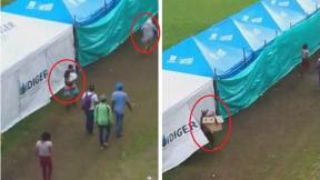 Venezolanos robando en campamento humanitario de Bogotá