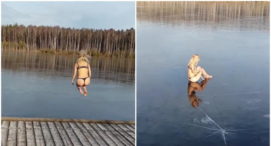 Joven salta a lago congelado.