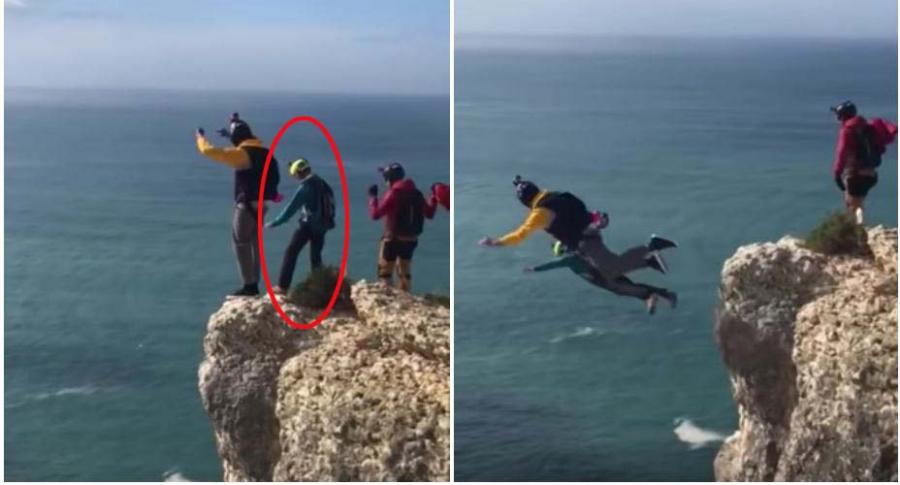 Hombre salta en paracaídas.