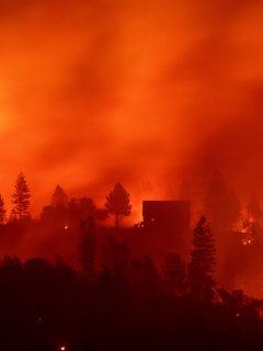Las llamas de Camp Fire en la cima de una colina de Big Bend, California