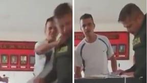 Sujeto golpea a policía en estación de Aranzazu, Caldas