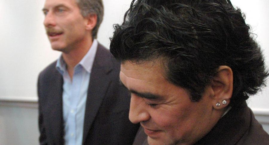 Mauricio Macri y Diego Maradona, en Boca Juniors