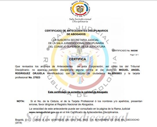 Documento del Consejo Superior de la Judicatura