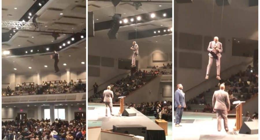 Pastor cristiano entra 'volando' a iglesia.