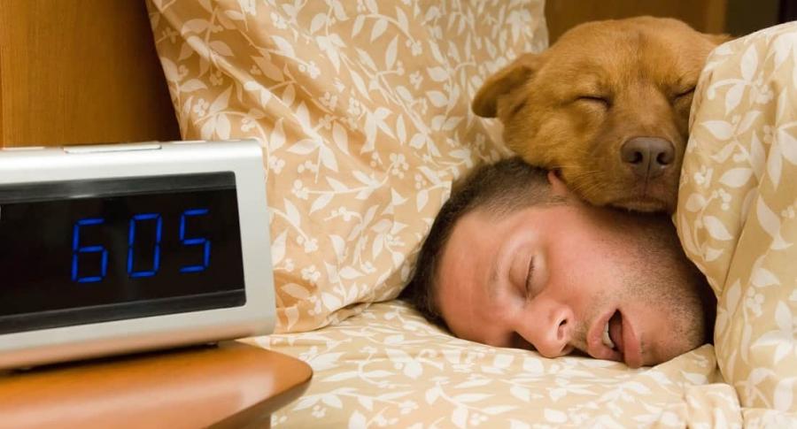 Hombre durmiendo junto a su perro
