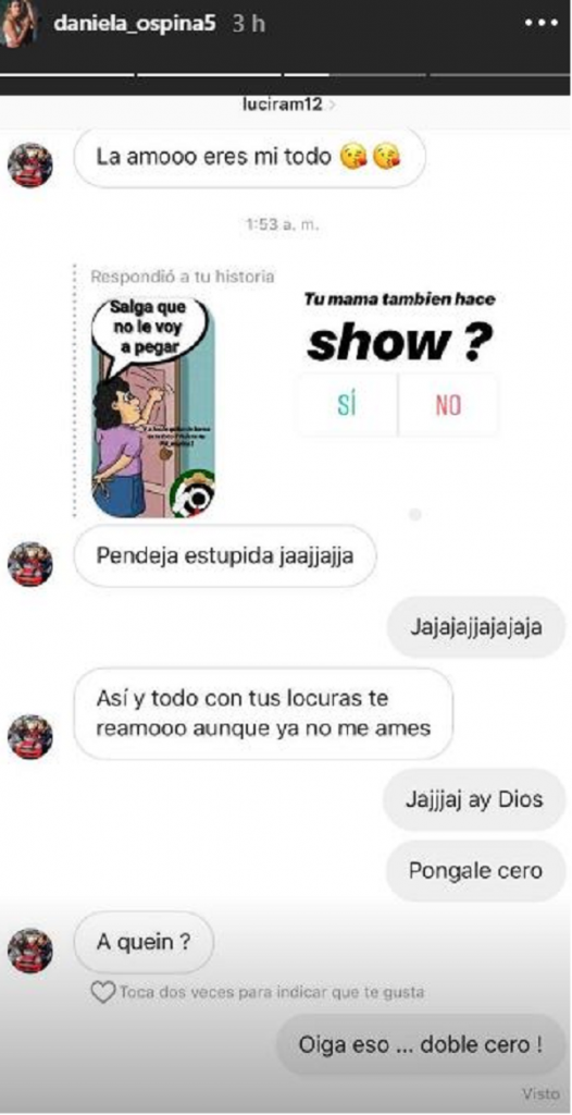 Chat entre Lucía Ramírez y Daniela Ospina