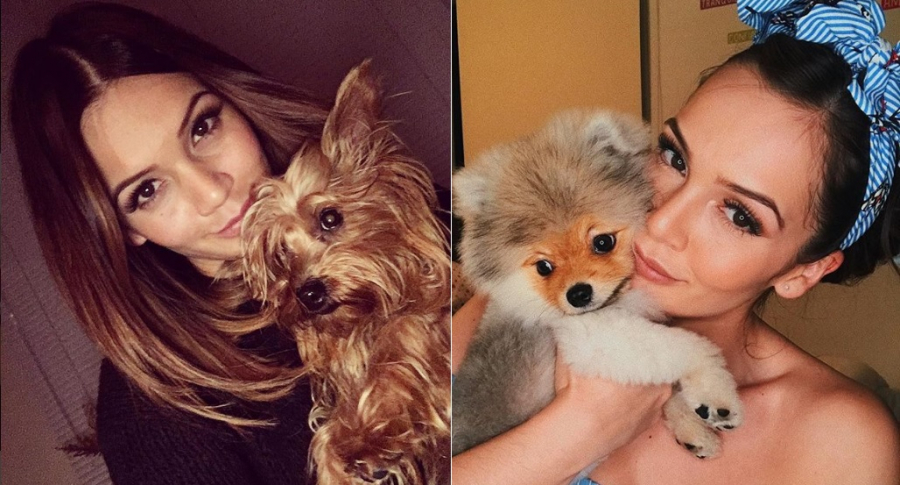 Lina Tejeiro, actriz, con sus perros Romeo y Kimmy.