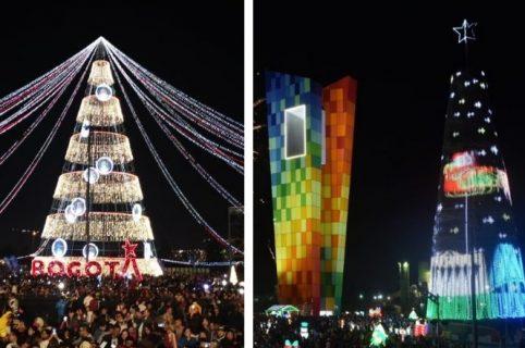 Arboles de navidad en Bogotá y Barranquilla