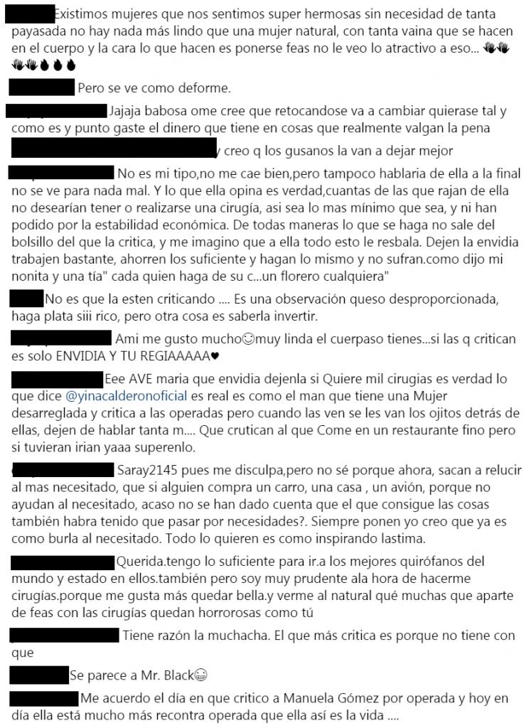 Comentarios sobre respuesta de Yina Calderón