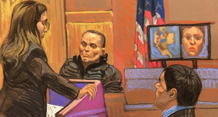 Dibujo de alias 'Chupeta' en el juicio al 'Chapo' Guzmán