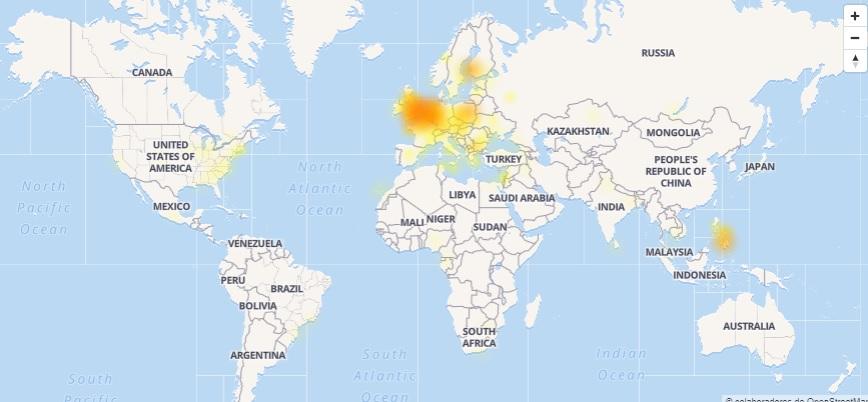 Mapa caída de Facebook