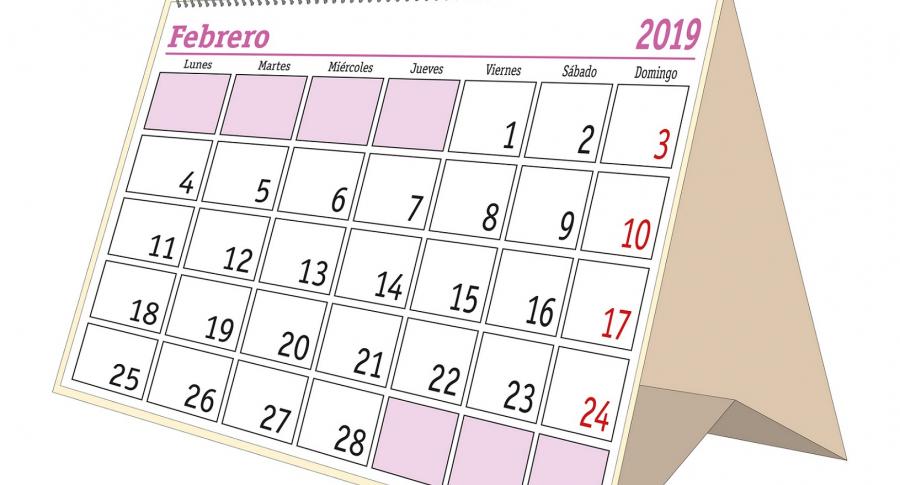 Calendario de febrero de 2019