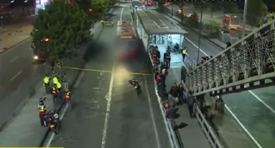 Accidente fatal en la troncal Calle 80 de Transmilenio