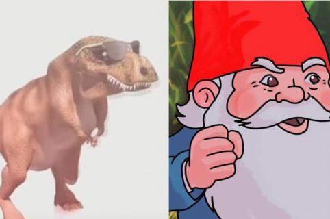Meme del dinosaurio y el duende retador