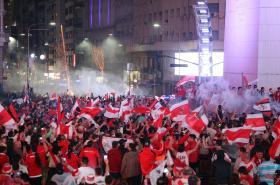 Hinchas River Plate en el Obelisco de Buenos Aires