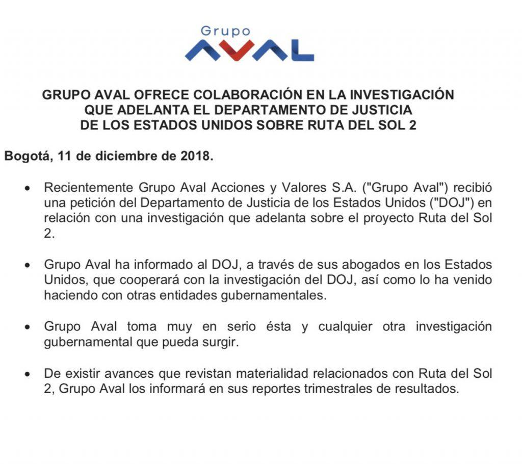 Comunicado Grupo Aval