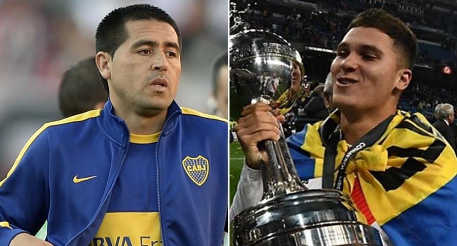 Juan Román Riquelme y Juan Fernando Quintero