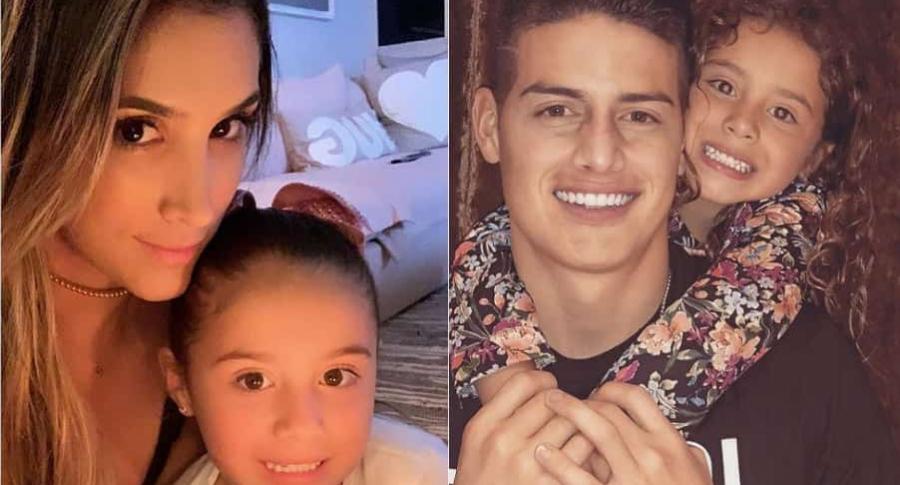 Daniela Ospina, modelo, y James Rodríguez, futbolista, con su hija Salomé.