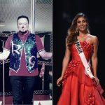 Raul Gasca, payaso, y Valeria Morales, Señorita Colombia.