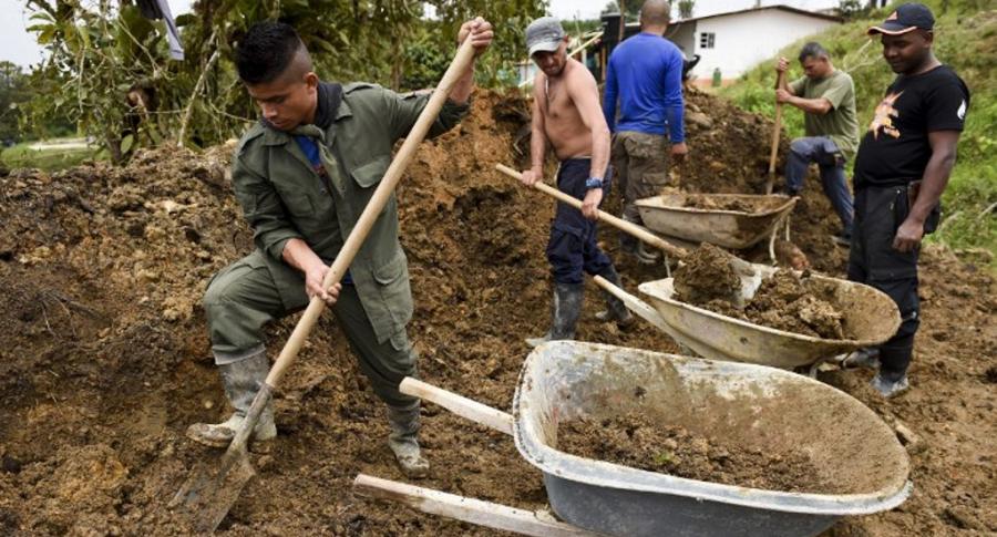 Exguerrilleros trabajando en el campo