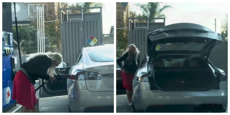 Mujer en estación de gasolina
