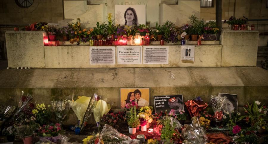 Tributo a un grupo de periodistas asesinados en Malta.