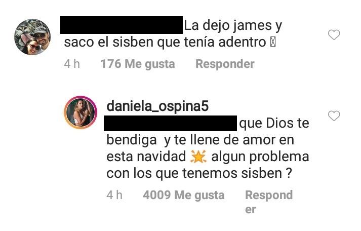 Comentario de seguidor de Daniela Ospina y respuesta