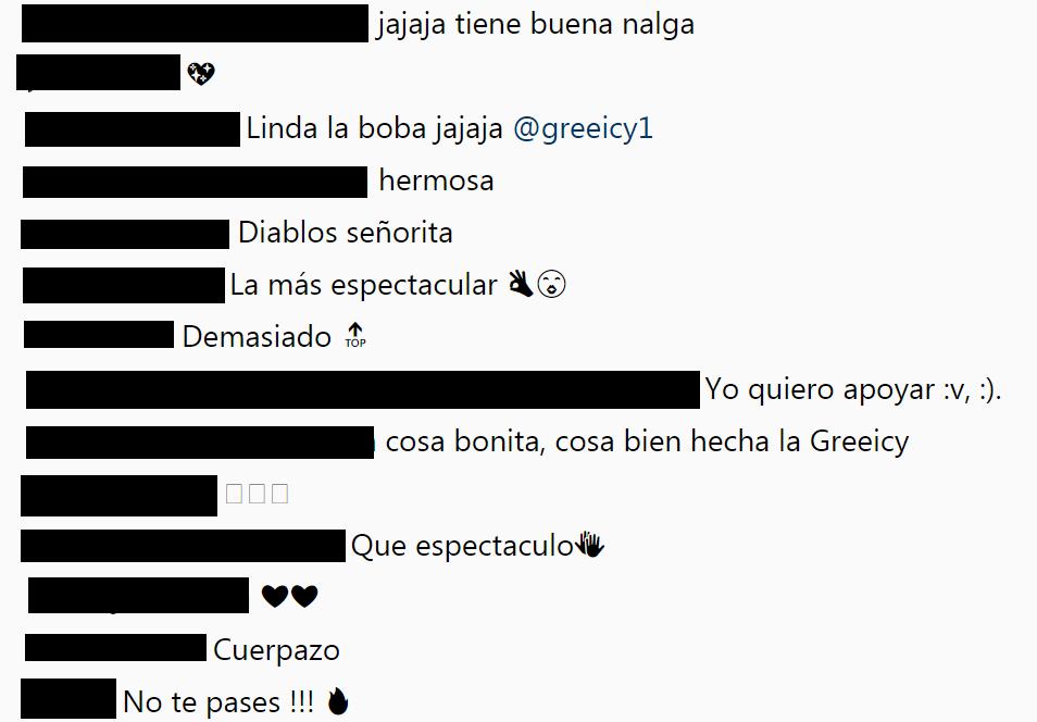 Comentarios en el Instagram de Greeicy