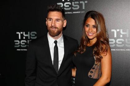 Lionel Messi, futbolista, con su esposa Antonella Roccuzzo.