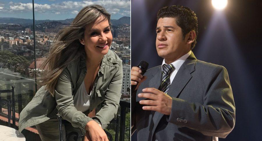 Vicky Dávila, periodista, y Róbinson Silva, imitador de Julio Jaramillo en 'Yo me llamo'.