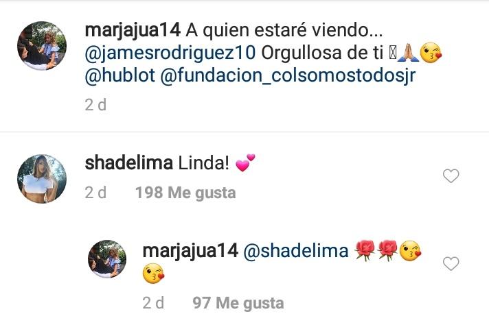 Captura de pantalla a comentario de Shannon de Lima a mamá de James